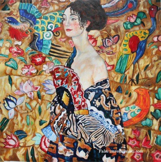 Donna con ventaglio Falsi d\'autore Klimt 100x100cm - Falsi ...