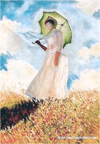 Donna con parasole girata verso sinistra Falsi d\'autore Monet ...
